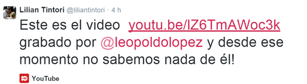 Tweet anunciando Video de Leopoldo López