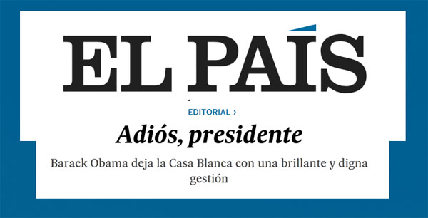 Obama y Editorial Pais de España