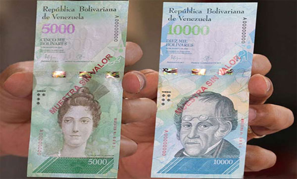 billetes de 5000 y 10000 bs