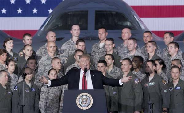 Trump en la base militar de Andrews