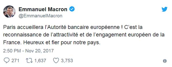 Emmanuel Macron y European Banking Authority