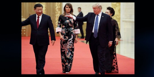 Melania Trump en China y su vestido Gucci