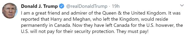 Trump tweet sobre Harry y Megan