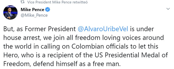 Mike Pende Tweet en defensa de Uribe